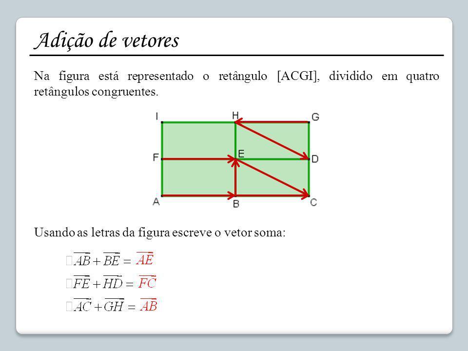 Adição de vetores Na figura está representado o retângulo [ACGI], dividido em quatro retângulos congruentes.